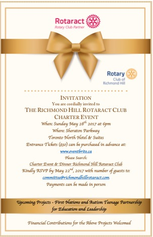 Rotaract Club Invitation Rotary Club of Richmond Hill