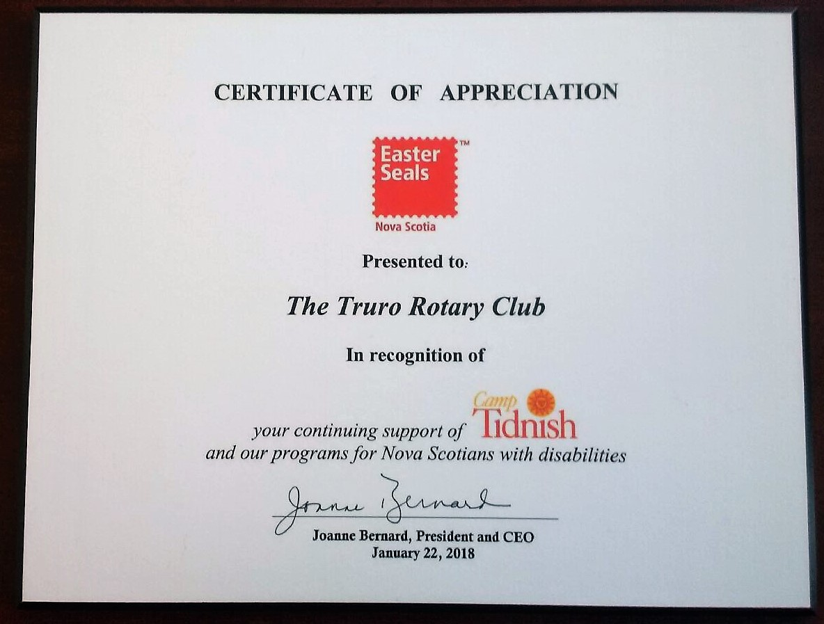 Stories rotary club of truro a certificate of appreciation from easter seals for its continuing support of camp tidnish and their programs for nova scotians with disabilities aiddatafo Gallery