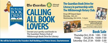 faa9a7fc9a73 Our annual Book Drive for Literacy in partnership with The Guardian  Drop  off Depot at Founders Hall Oct. 22 - 24th. Sale same location Oct 25 - 27.