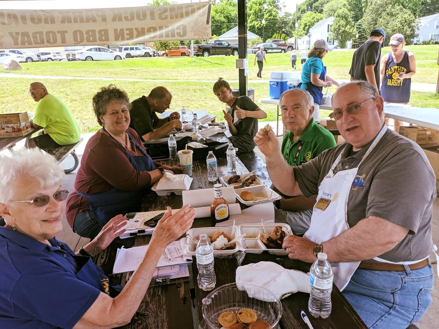 Lunch break for Sharon Steffens, President Cindy Witke, Governor Dave Thomas and Assistant Governor Jim White