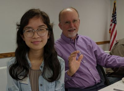 Caitlyn Chua with Rotarian Bob Homan