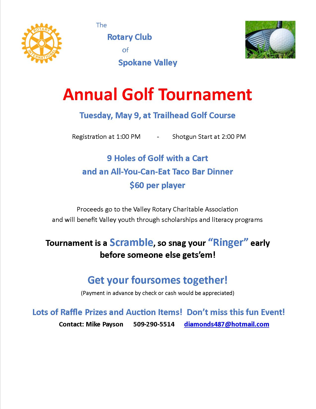Golf Tournament   Rotary Club of Greater Spokane Valley