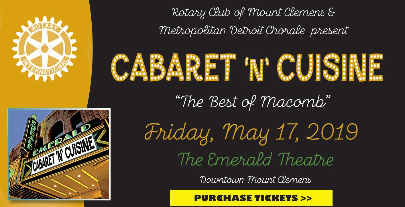 Cabaret 'n' Cuisine fundraiser flyer with link to ticket purchase