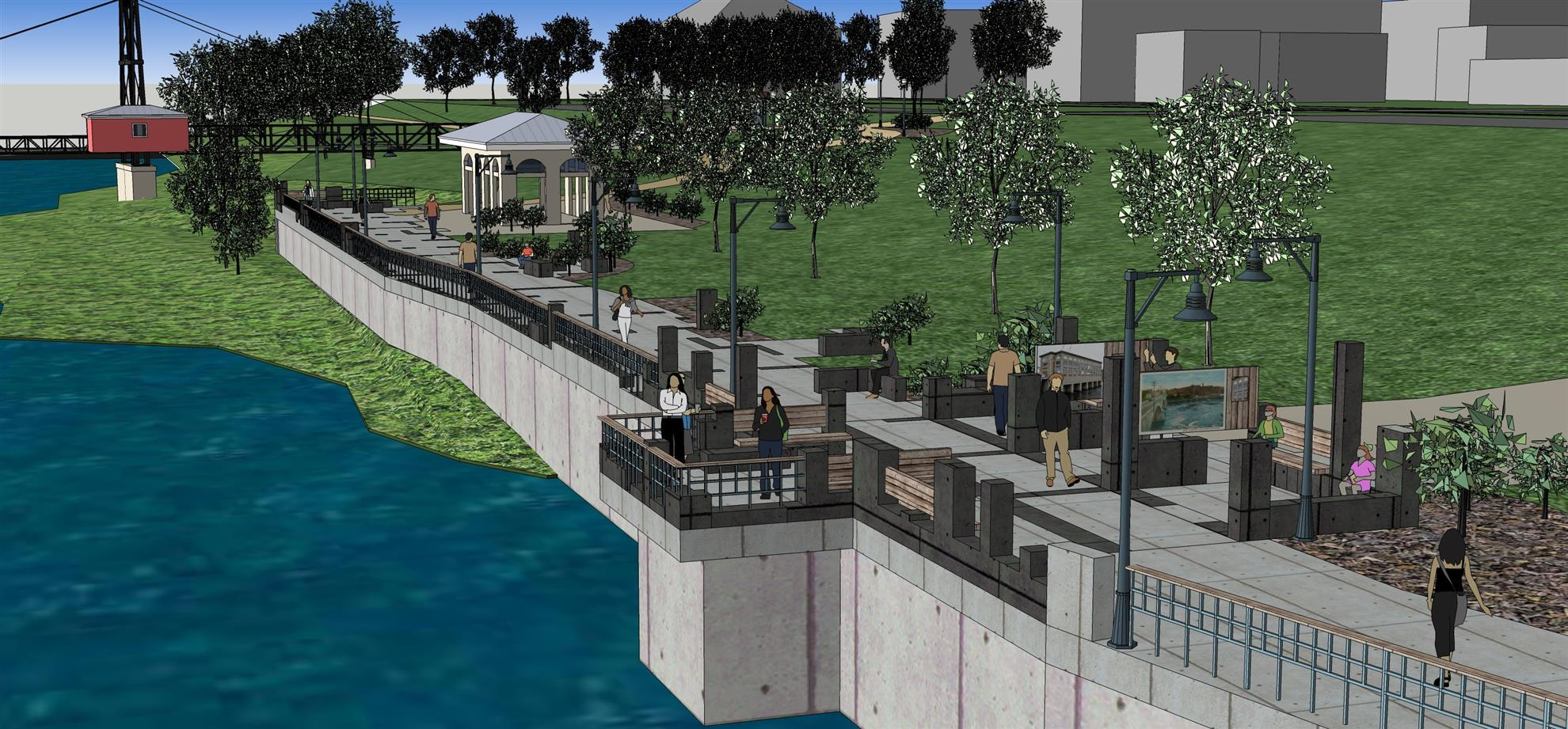 Artist Rendering of Waterville Rotary Kennebec Riverwalk Project