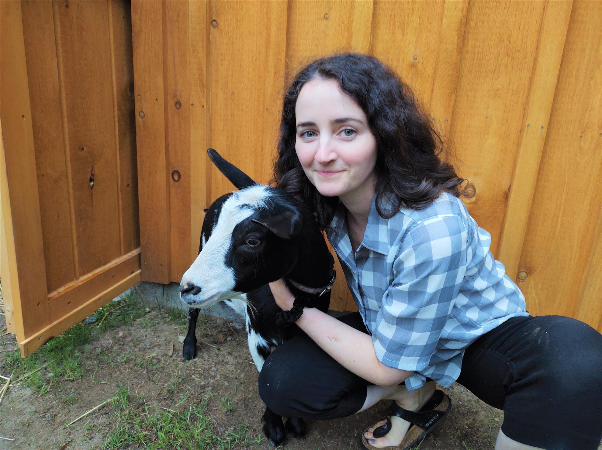 President Cara with a goat