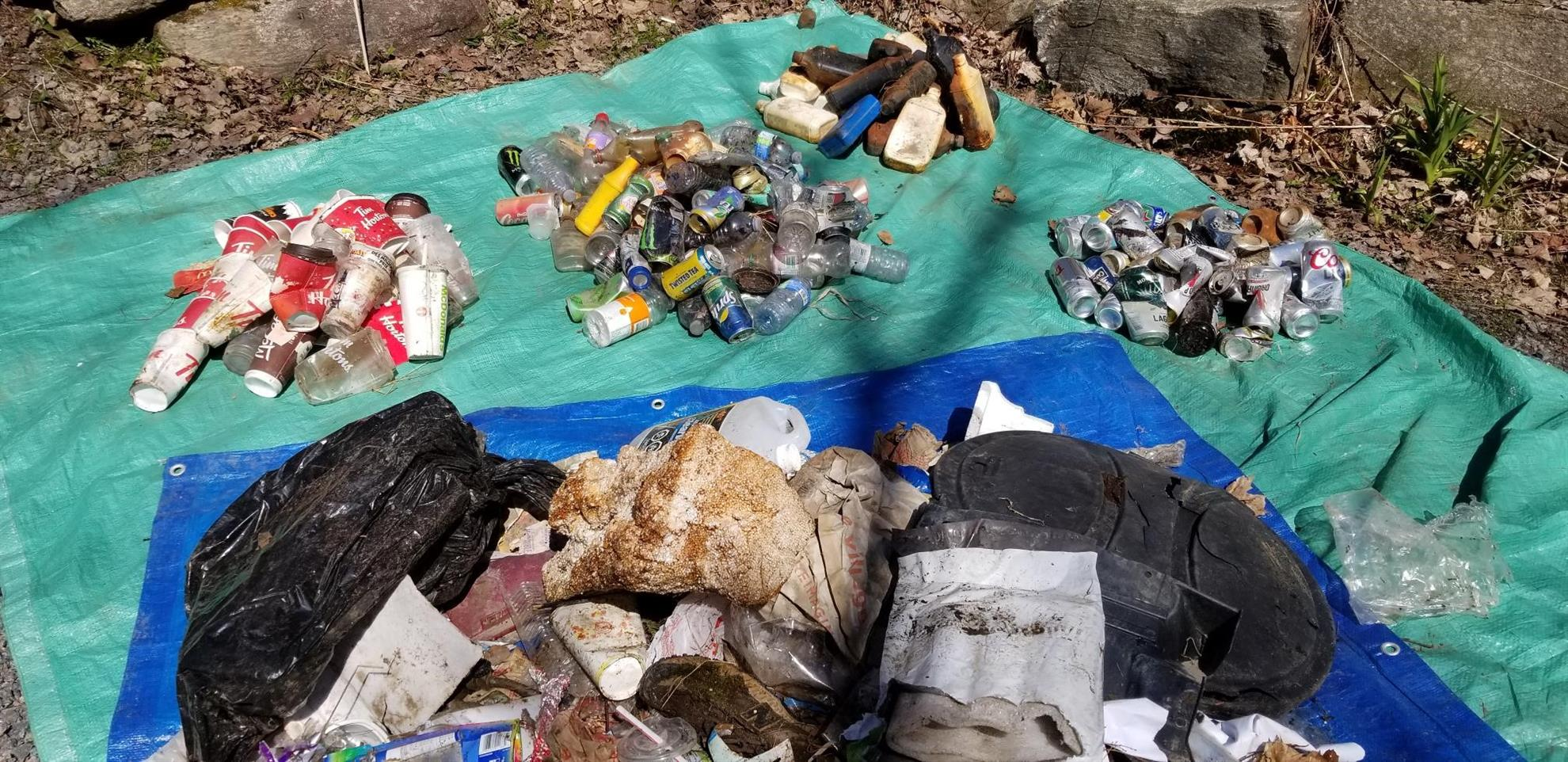 A tarp covered in collected trash.