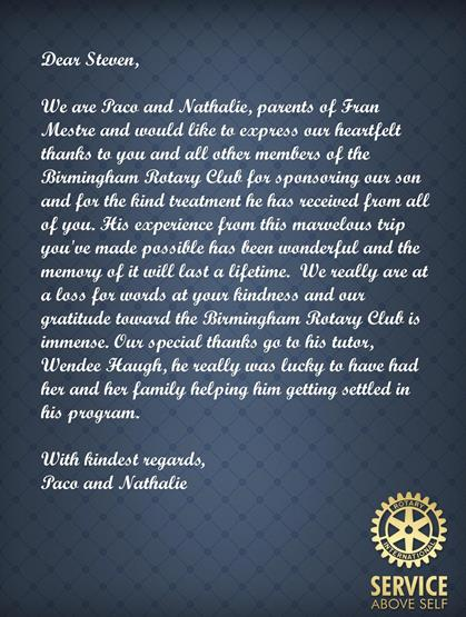 Letter From Paco  Nathalie  FranS Parents  Rotary Club Of