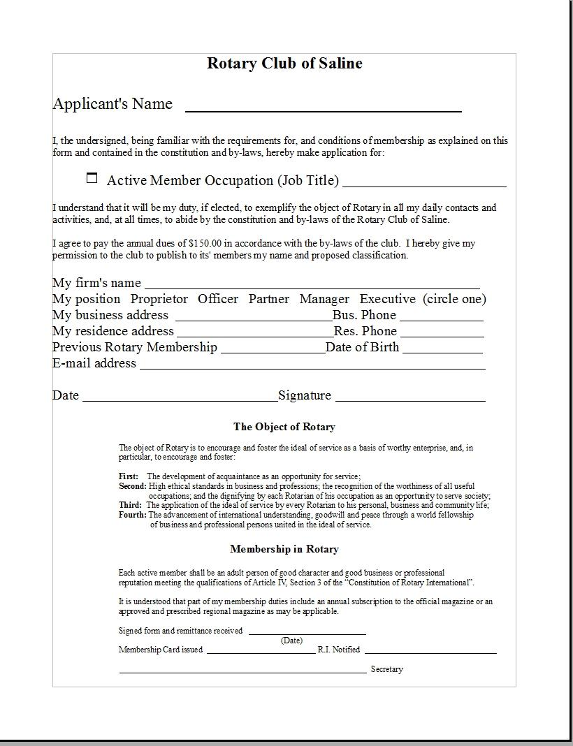 View Membership Application Form | Rotary Club of Saline