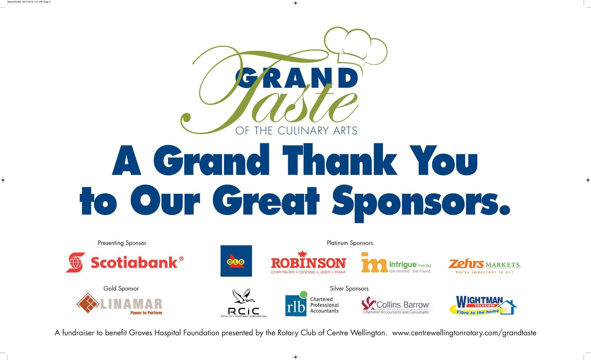 Grand Taste Sponsor Thank you