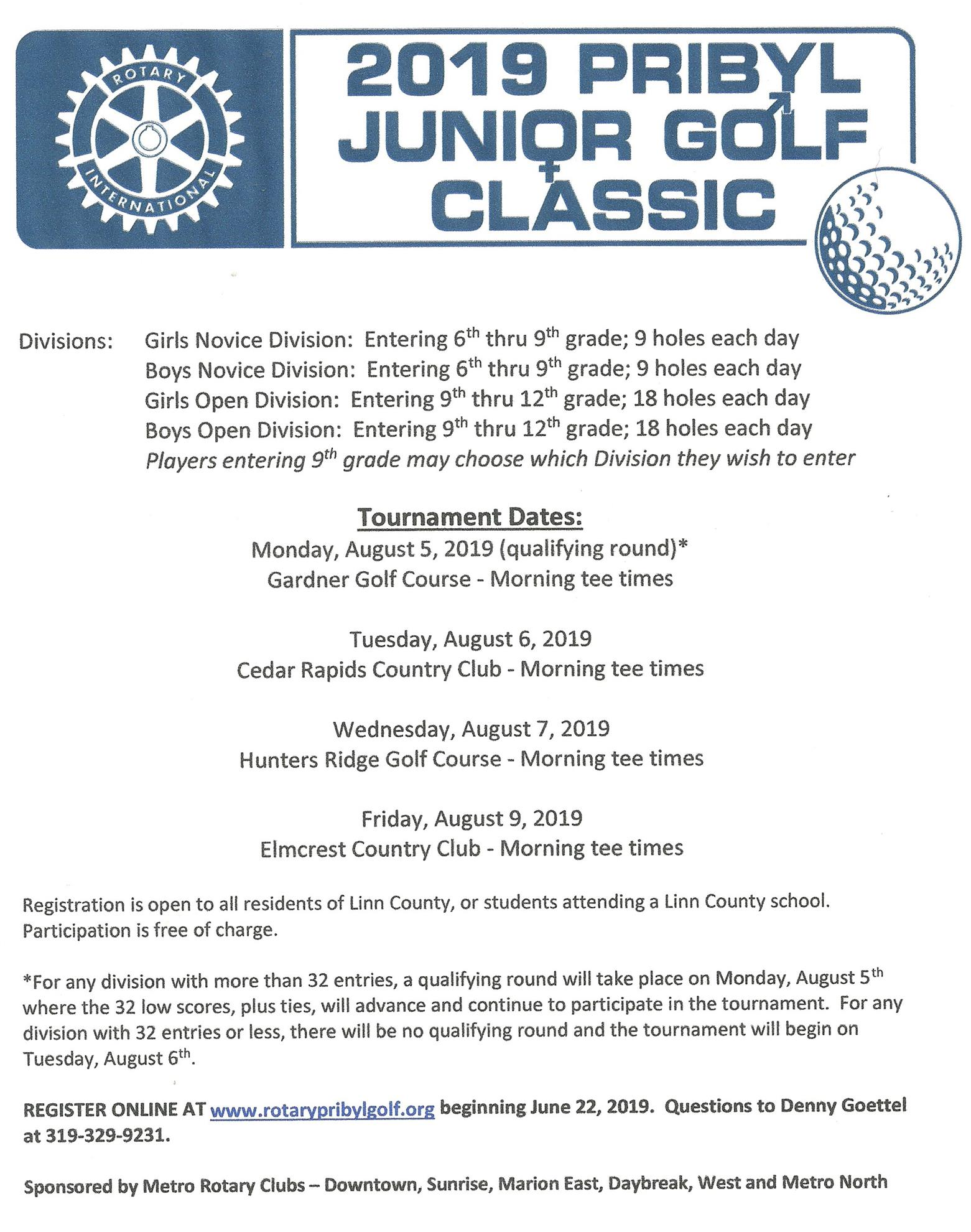 2019 Pribyl Junior Golf Classic | Rotary Club of Cedar