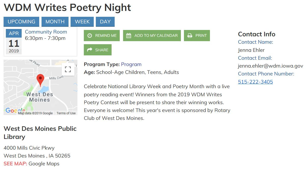 WDM Writes Poetry Night! | Rotary Club of West Des Moines