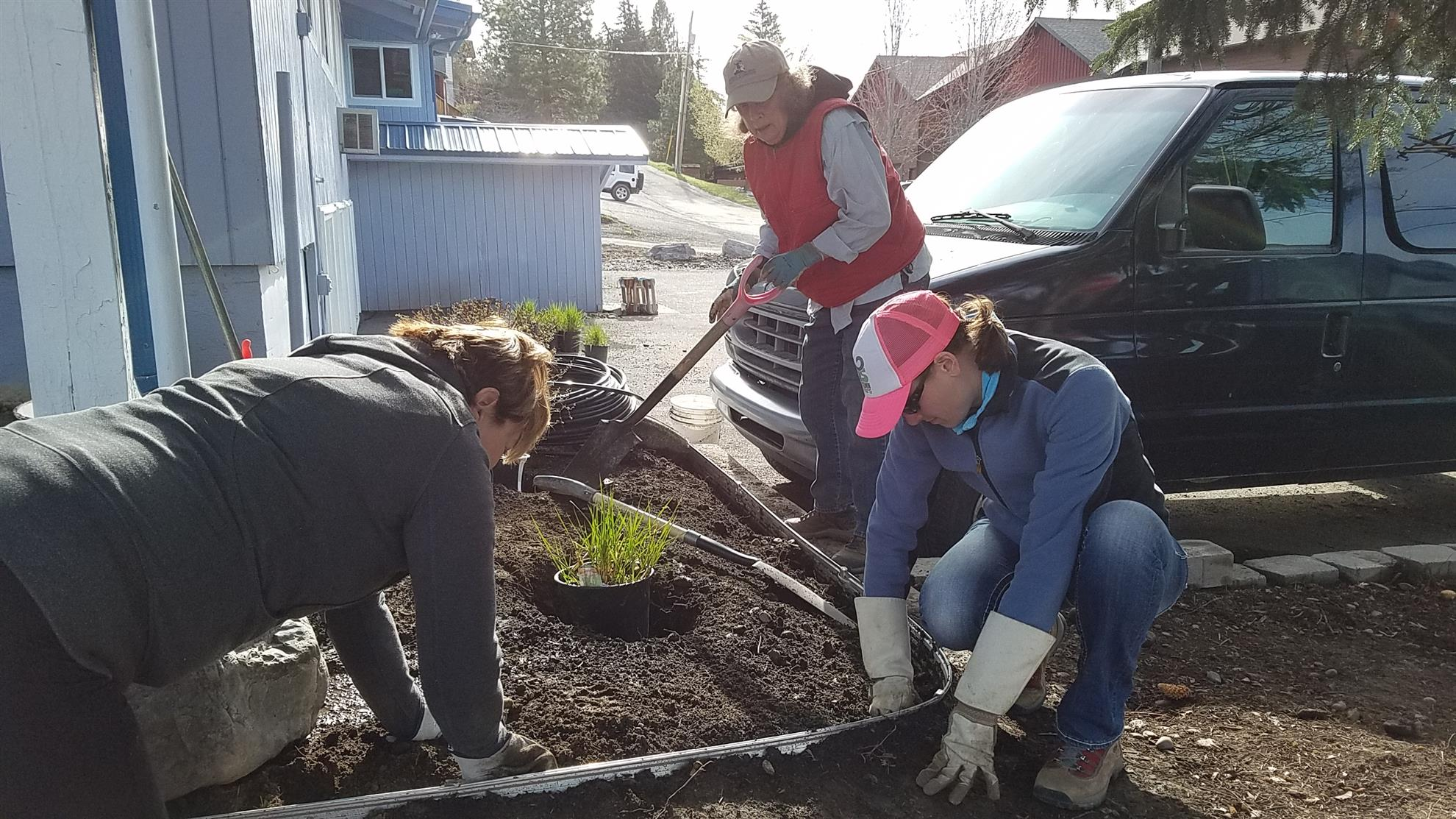 Rotary Members Landscaping Project at Bigfork Children's Theater