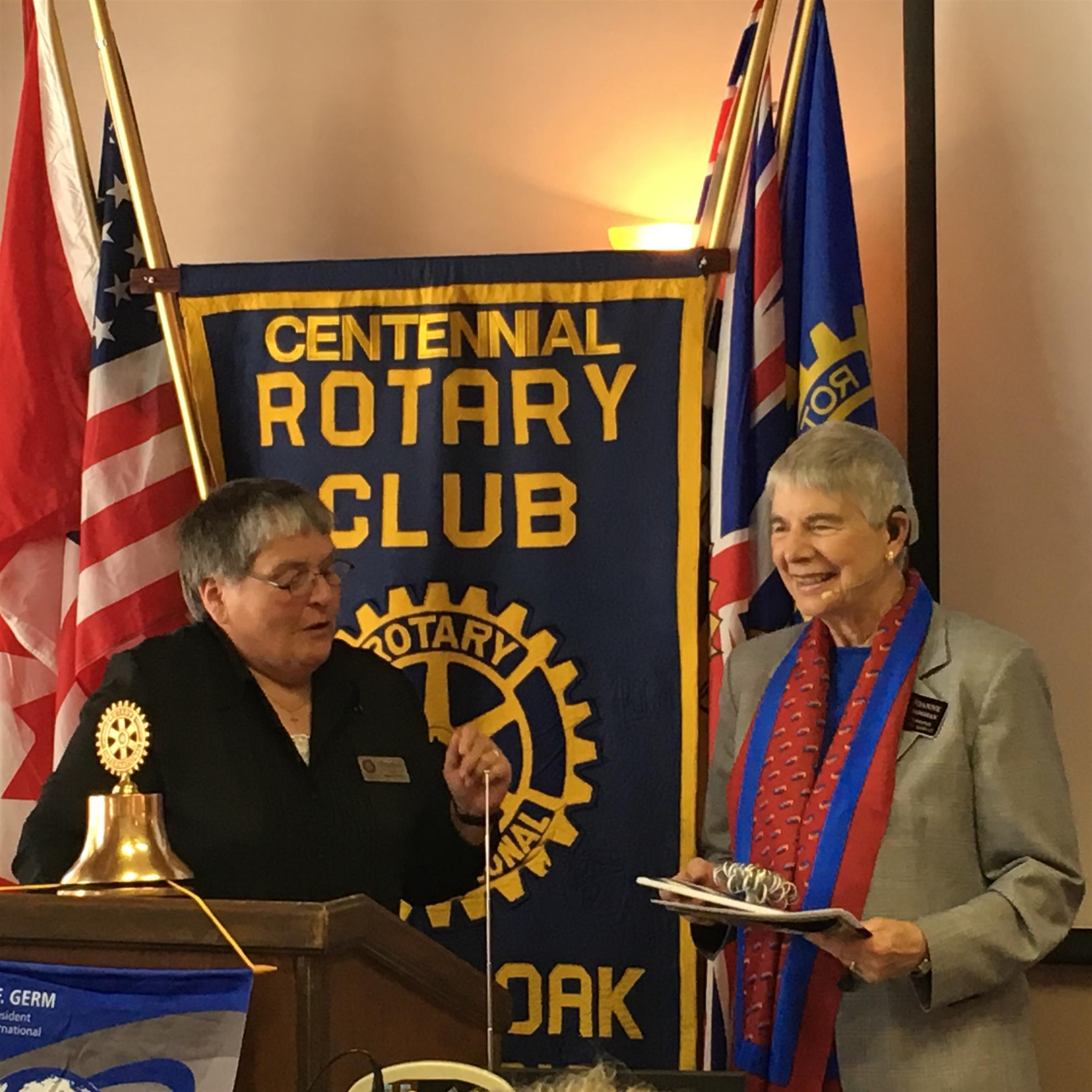 President Theresa Vogel (left) and District Governor Joan Croghan (right)