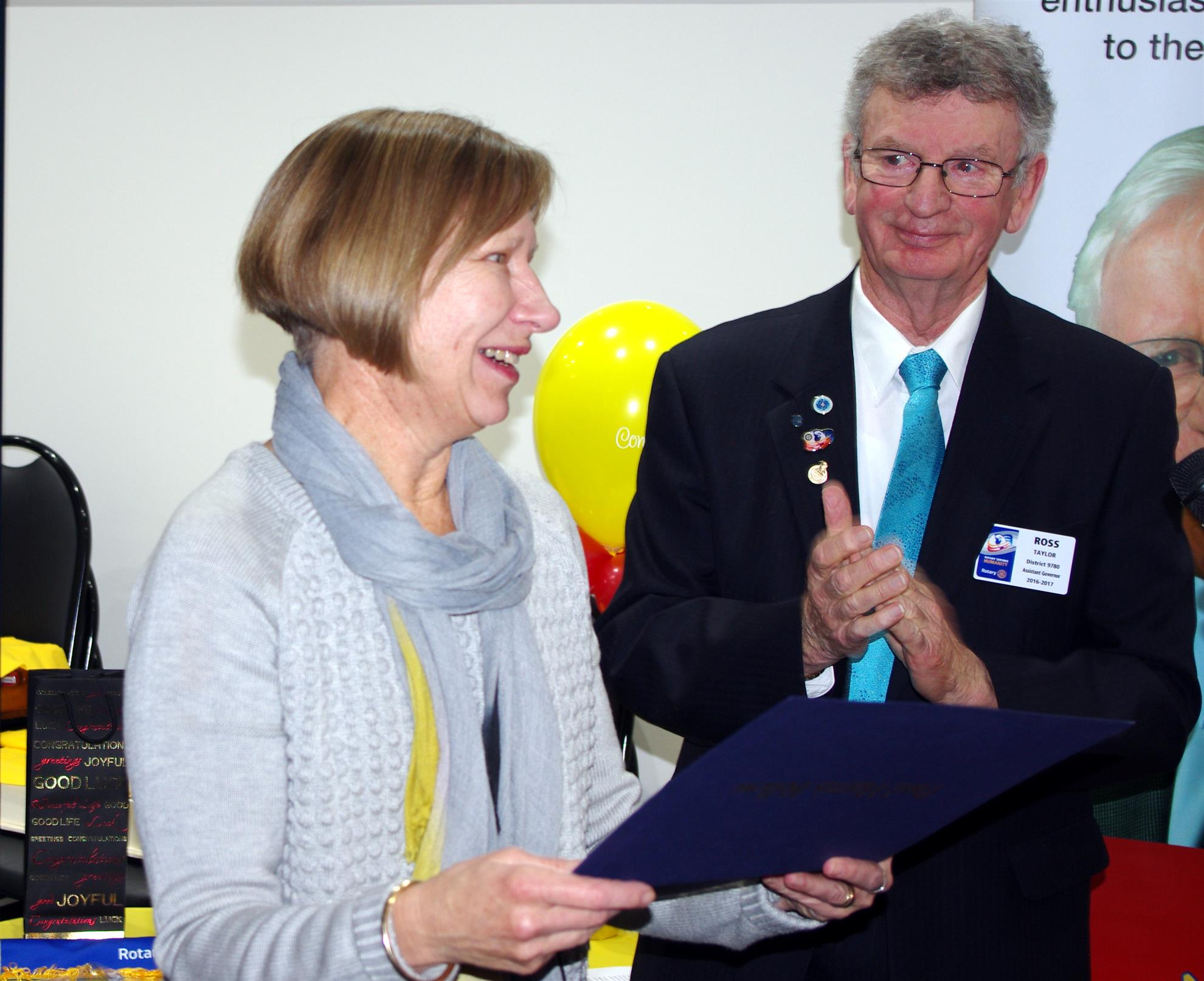 Anne Harding presented with Paul Harris Fellow