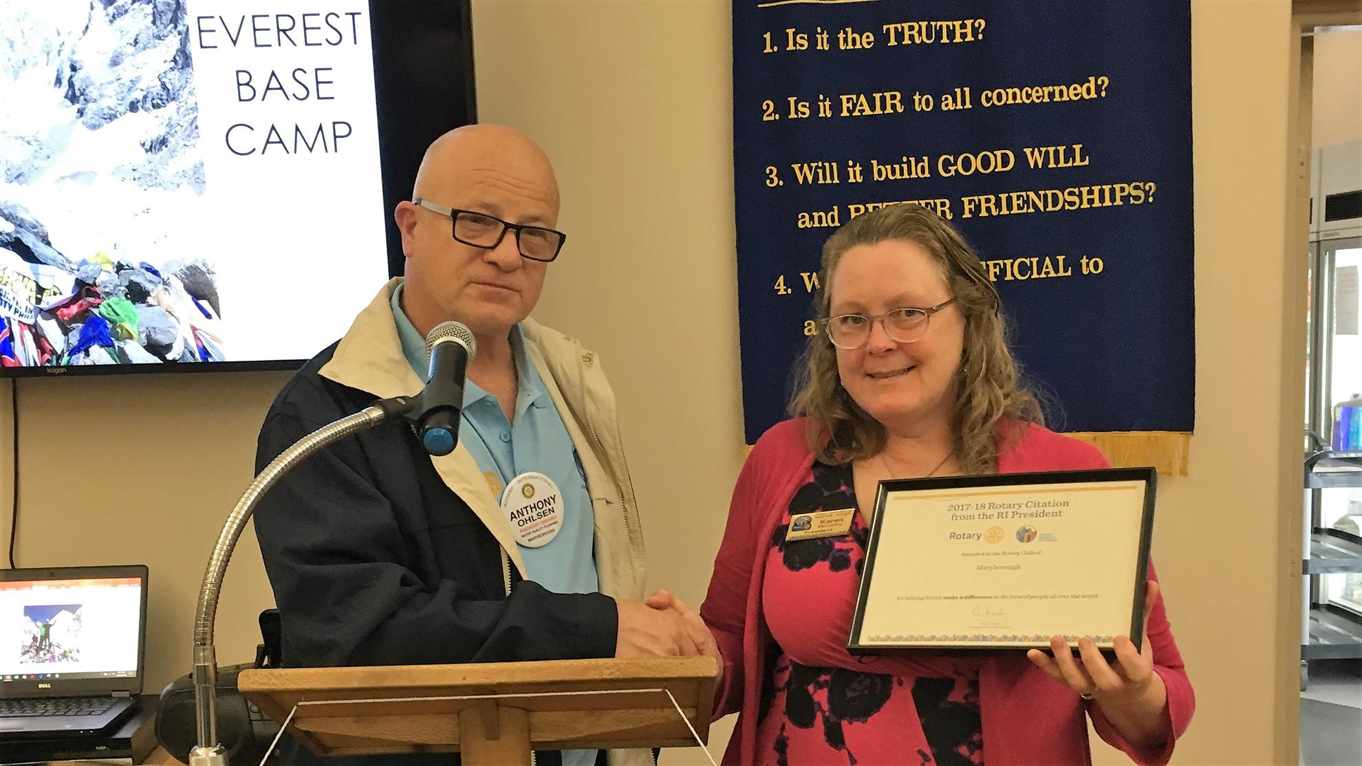 District Governor Anthony was on hand at Thursday s meeting to present our club with the International President Ian Riley s Citation for the 2017 18