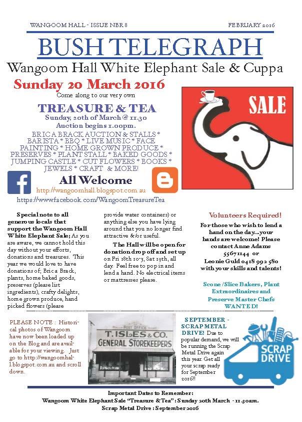 WANGOOM HALL WHITE ELEPHANT SALE & CUPPA | Rotary Club of
