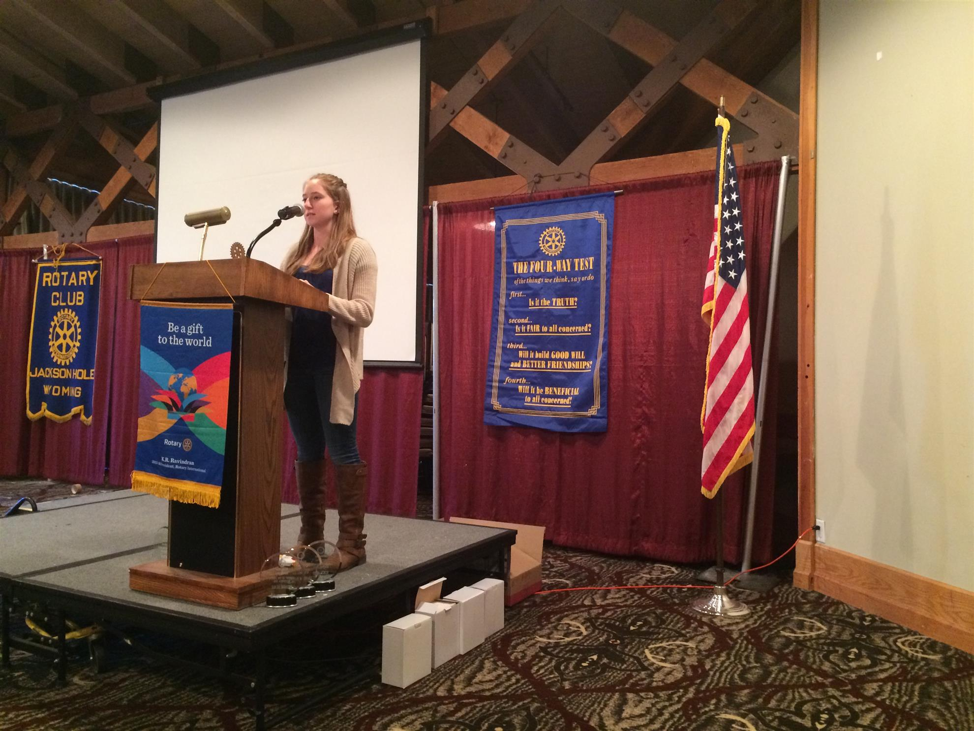 JHHS Student of the Month Brianne Beale addresses the Rotary Club of Jackson Hole