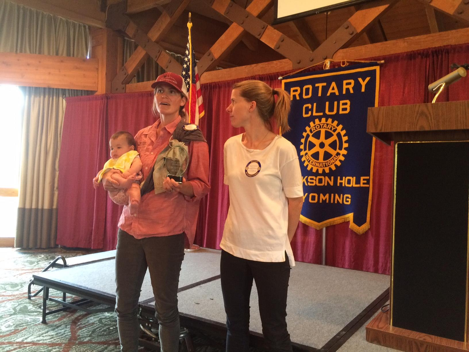 Stephanie Thomas, Executive Director of the TCSAR Foundation, and Jessica King, TCSAR Coordinator, accept Rotary's Citizen of the Month award on behalf of the entire Teton County Search and Rescue.