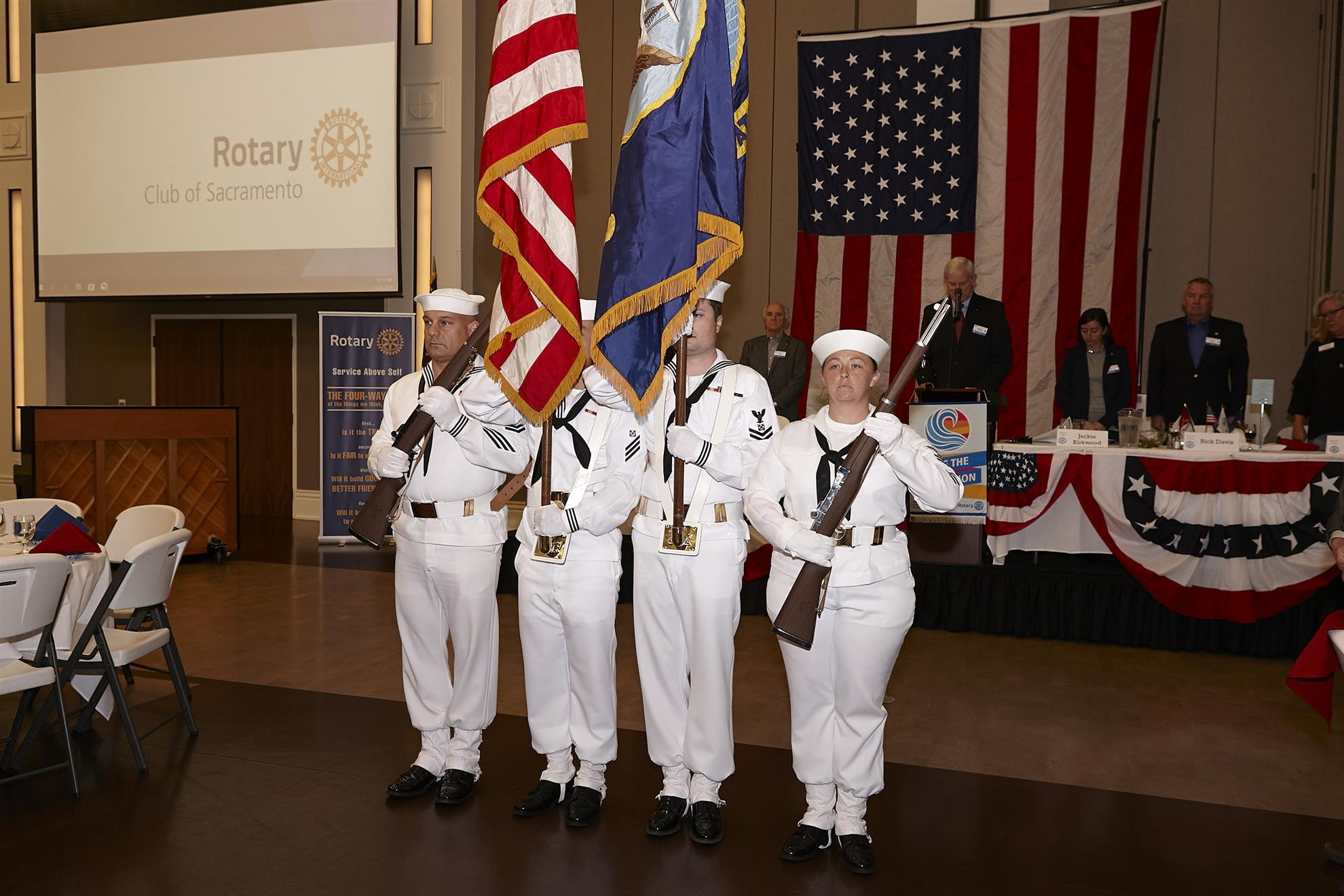 8c5ad623b9e The patriotic tone for the day was set with the ceremonial posting of  colors by a U.S. Naval Color Guard