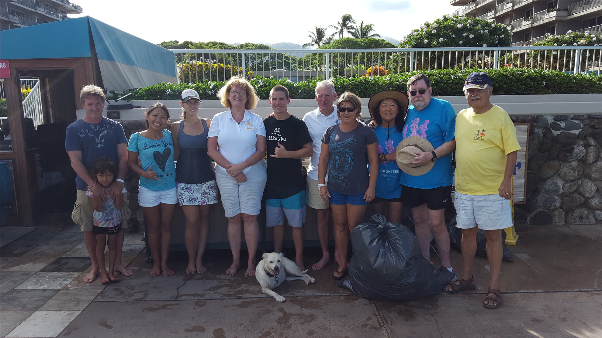Tired but happy beach clean up gang