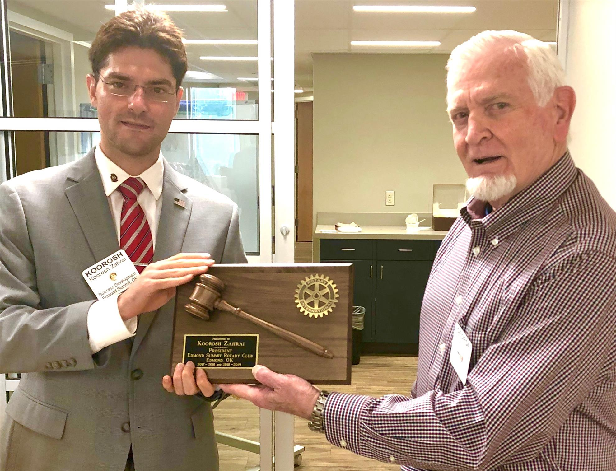 dd2e14af895c5d June 25th, 2019. Shown at left, Incoming President for 2019-2020, George  Strecker presents immediate past president, Koorosh Zahrai, a handsome wall  plaque ...