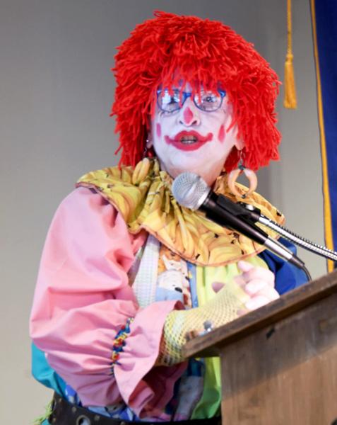 Heidi Goldstein dressed as a clown