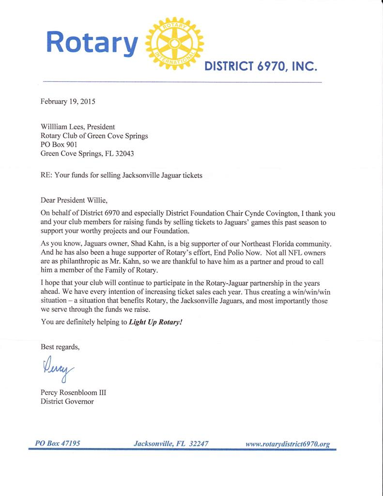 Jaguars Ticket Sales Thank You Letter Rotary Club Of Green Cove