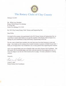 Science fair judging thank you letter rotary club of green cove we would like to share this gracious thank you letter from the 2015 clay county science and engineering fair altavistaventures Image collections