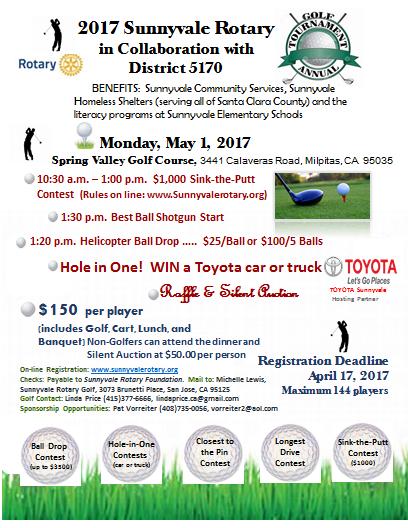 2017 Sunnyvale Rotary Golf Tournament