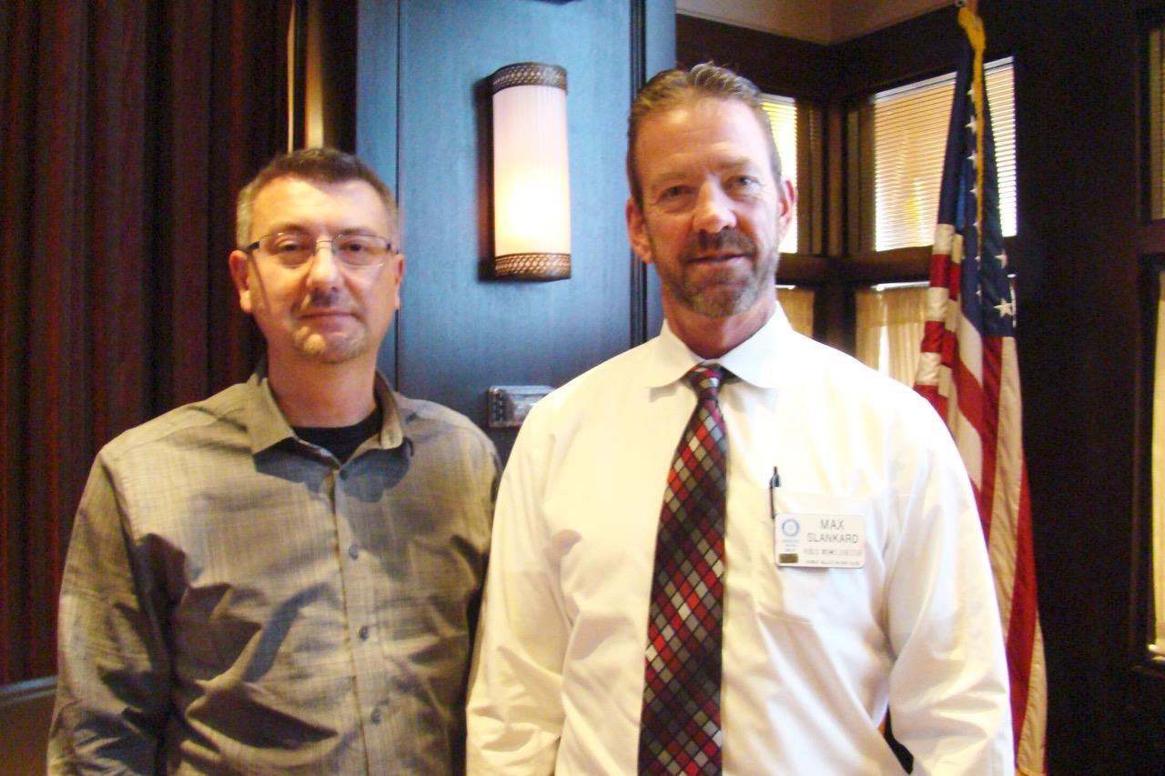 b0e2692613d Guest Speaker Claudiu Cionca (left) Acting Club President Max Slamkard  (right)