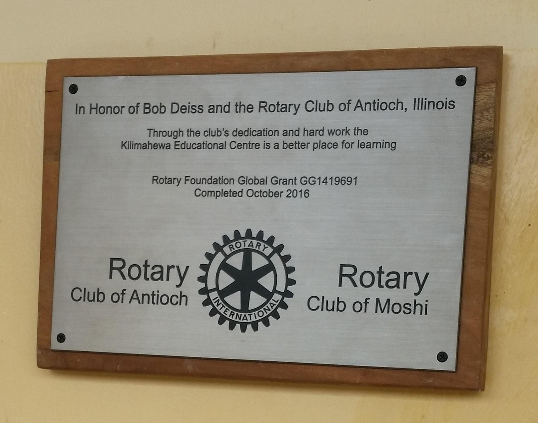 Greatest Update from Tanzania..   Rotary Club of Antioch-IL KV91