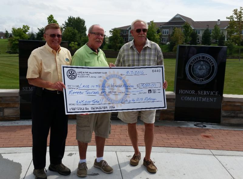 Russ Ruzanski, Village Trustee, Bill Dustin, LITH Rotary member & Paul Mulcahy, Village President
