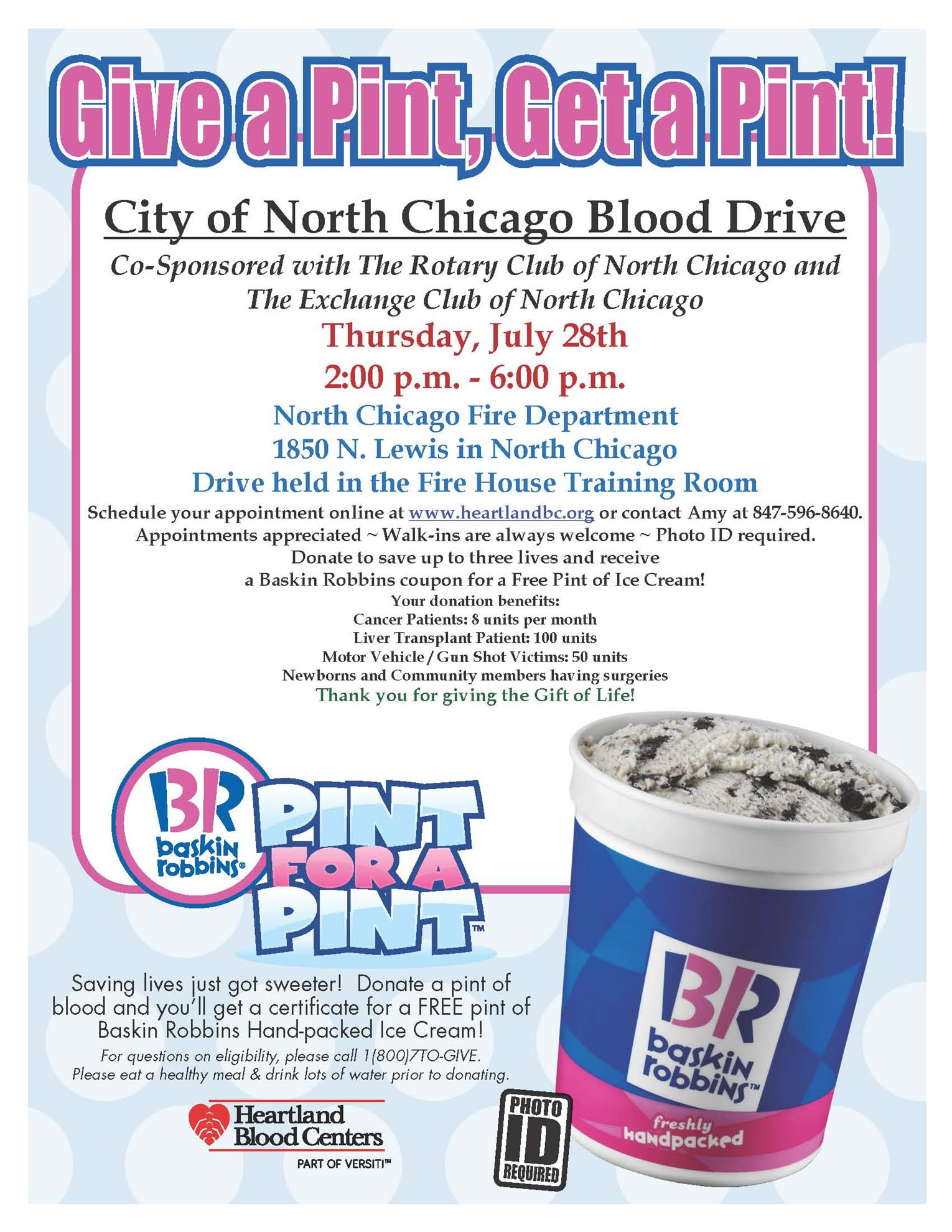 Blood Drive Partnership July 28th At North Chicago Fire Department