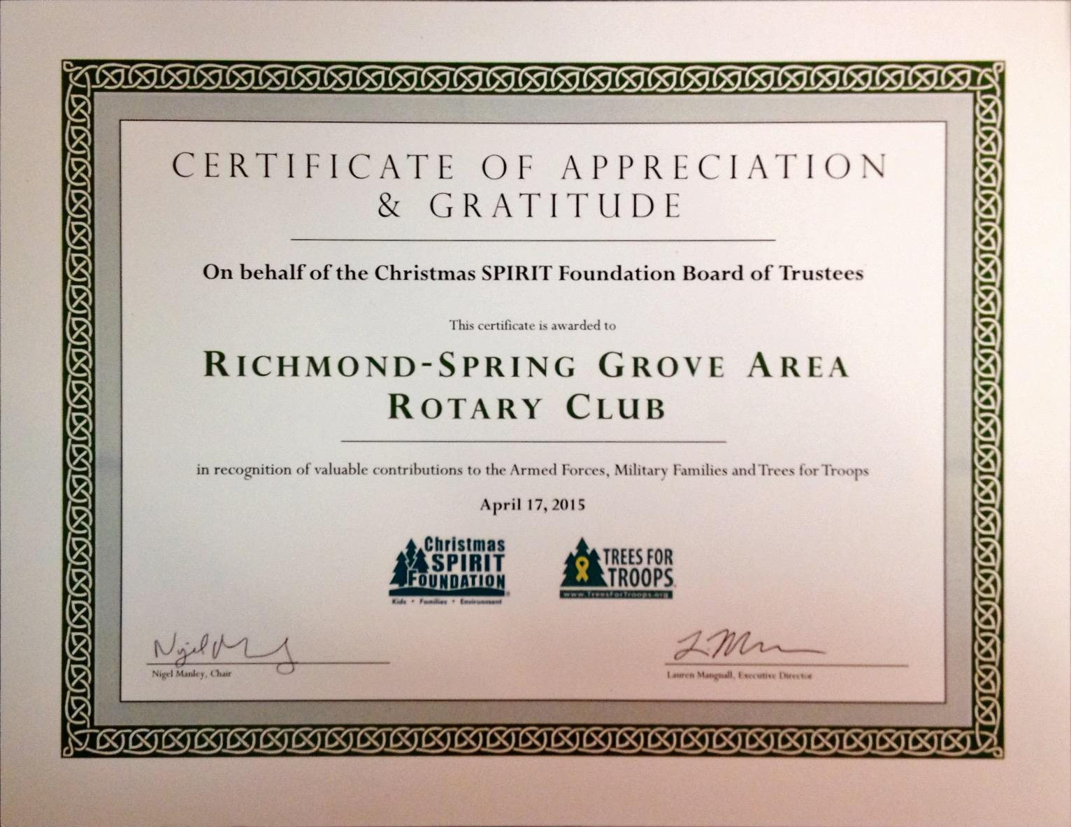 Club receives certificate of appreciation gratitude richmond our club received on april 17 2015 a certificate of appreciation gratitude on behalf of the christmas spirit foundation board of trustees yadclub Image collections