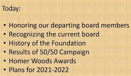 SFRF Agenda for July 20, 2021