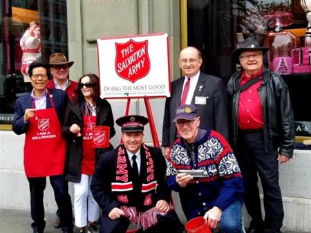 Bell ringing for the Salvation Army on Union Square has become an annual tradition for our Club. Pictured are Jianying Chen, John Mathers, Estela Chen, Major Raymond Erickson-King, Tim Hornbecker, Frank Yoke and David Dye on December 6, 2019
