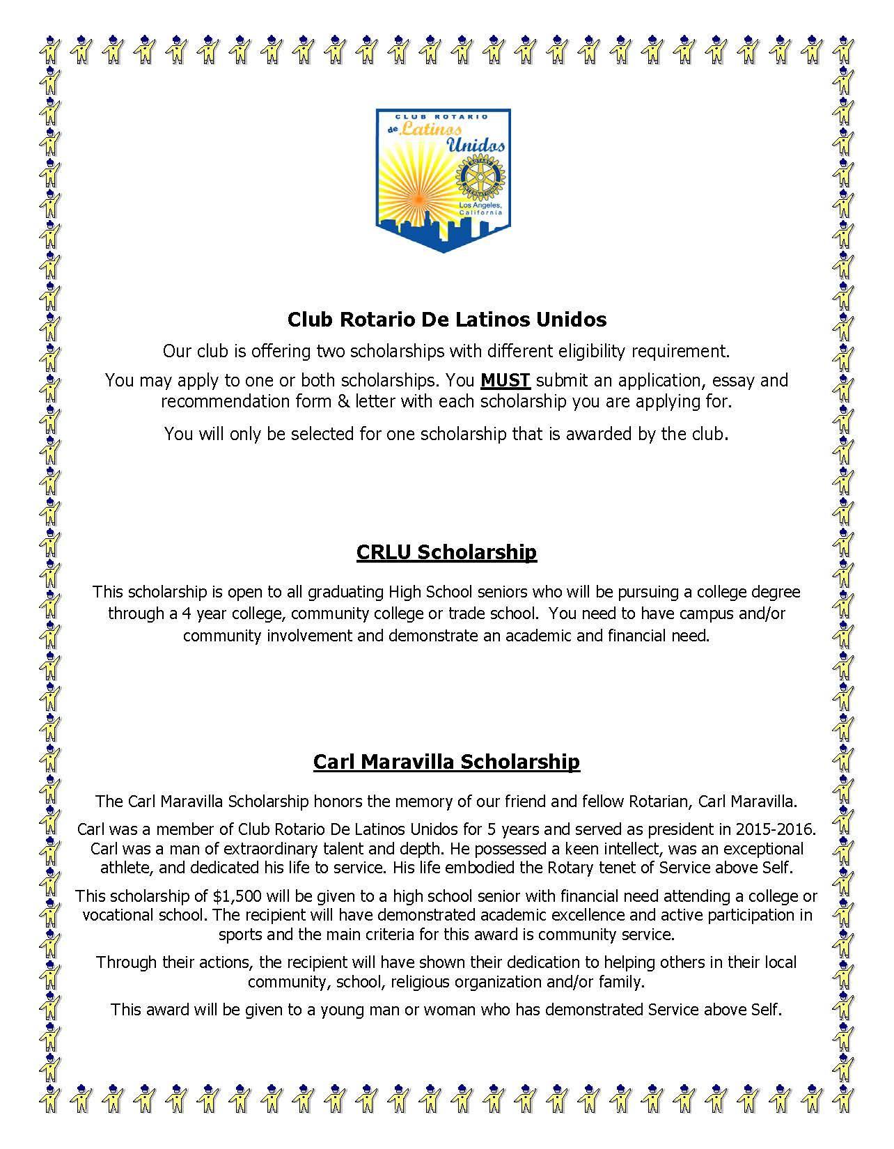 high school scholarships  club rotario de latinos unidos