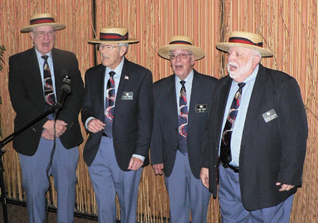 "756e120e3e1c6 The ""C Nile Sound"" Senior Barbershop Quartet performed for us (won by Betty  Reider in a raffle!). The Quartet members include Bruce Beyne"