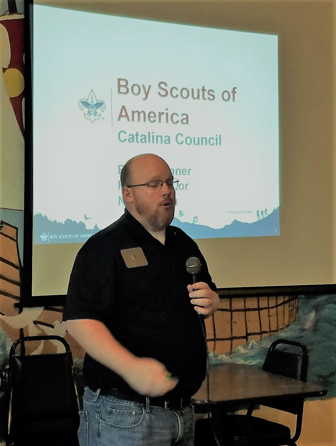Richie Benner, club member and District Field Director of our local BSA  council was guest speaker. We learned there are 7,000 scouts in the local  Council ...