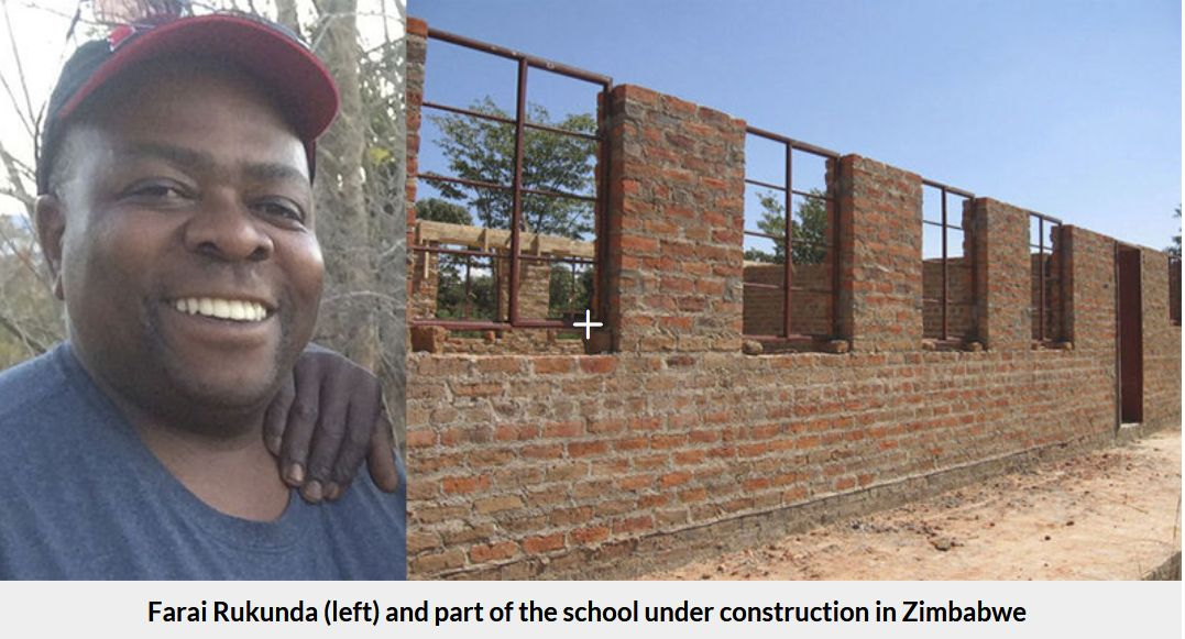 Our own club's Farai Rukunda is shown along side the school being  constructed in his home village in Zimbabwe. A recent fundraising dinner  and additional ...