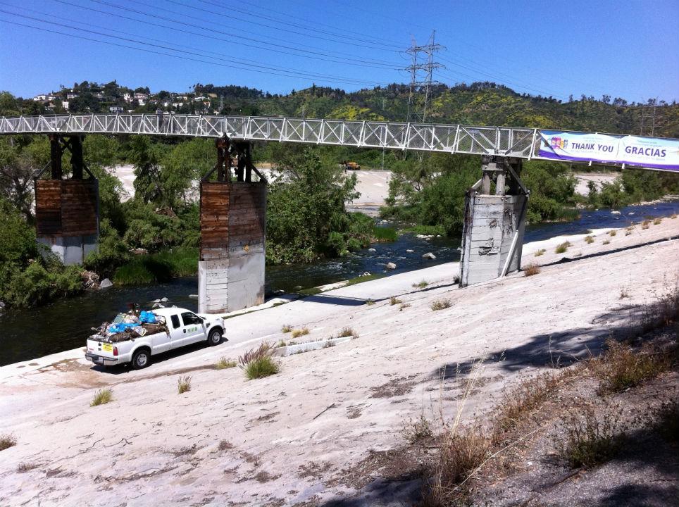 River cleanup footbridge