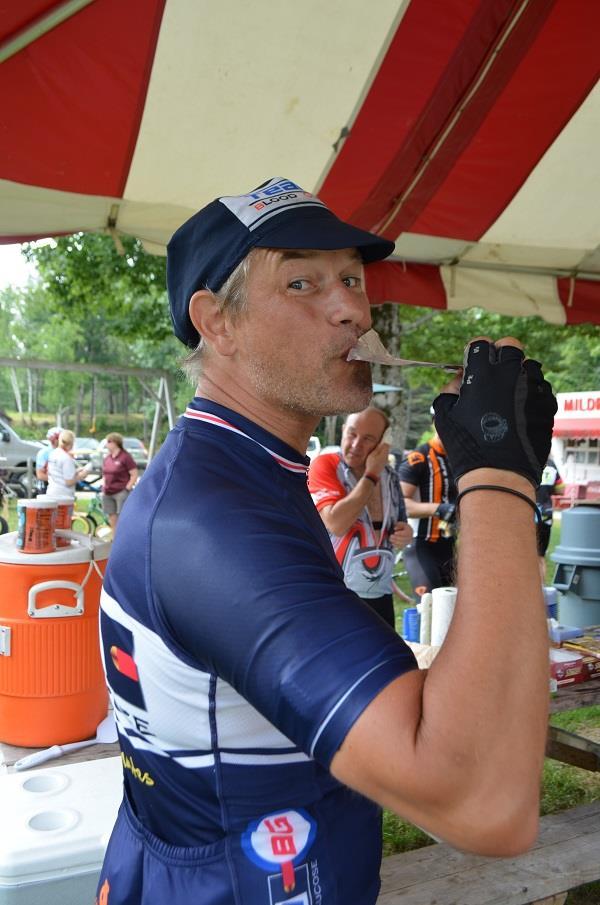 cyclist enjoying his snack