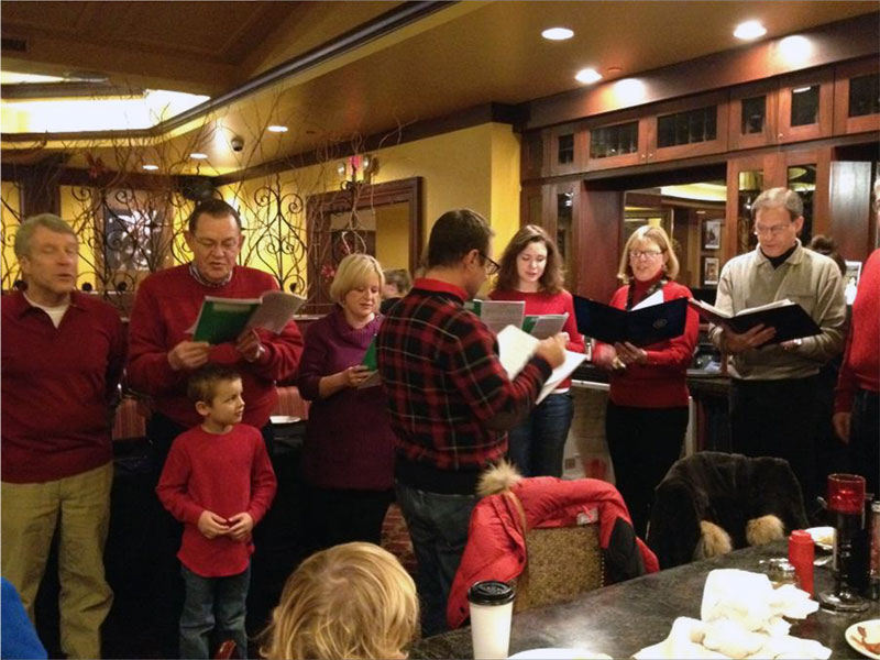 Rooters singing at the holiday party