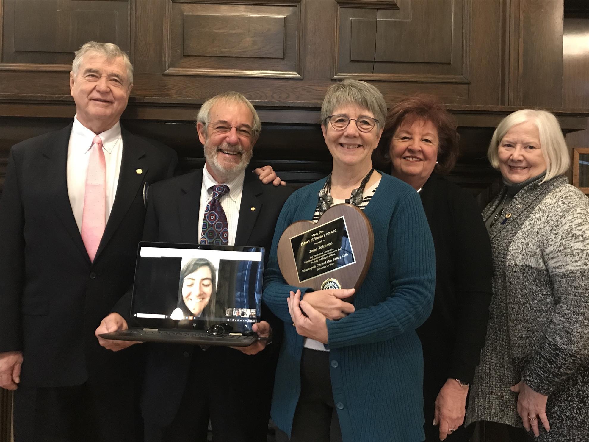 Jean Johnson wins the Merle Else Heart of Rotary Award