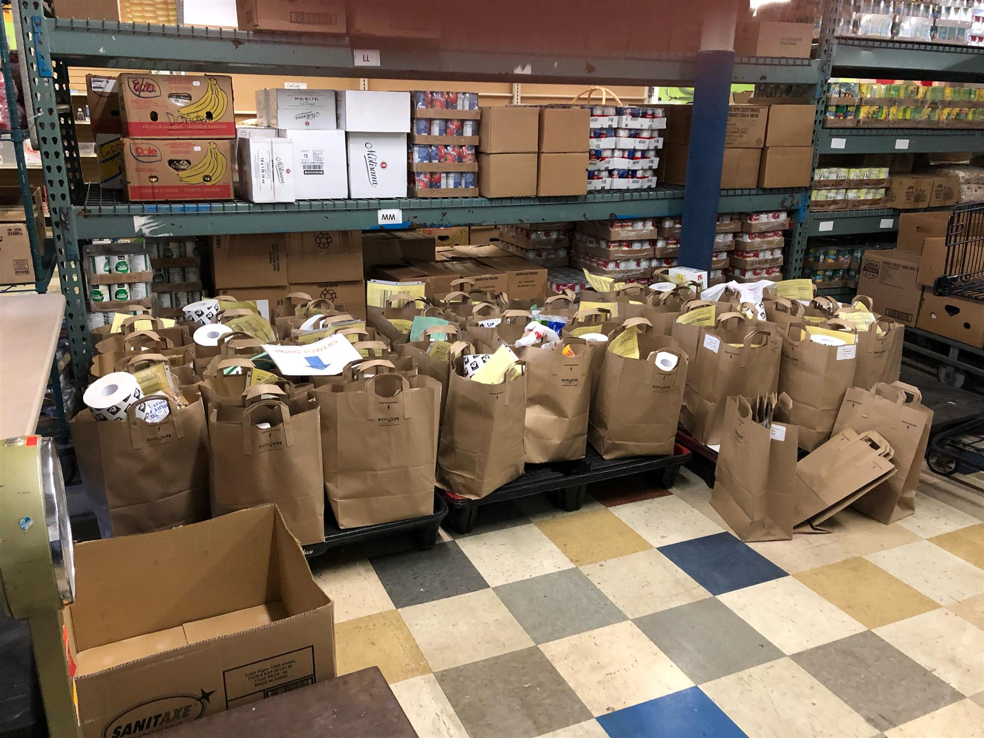 The results of our Rotary volunteers' good work at the CES food shelf. #PeopleofAction