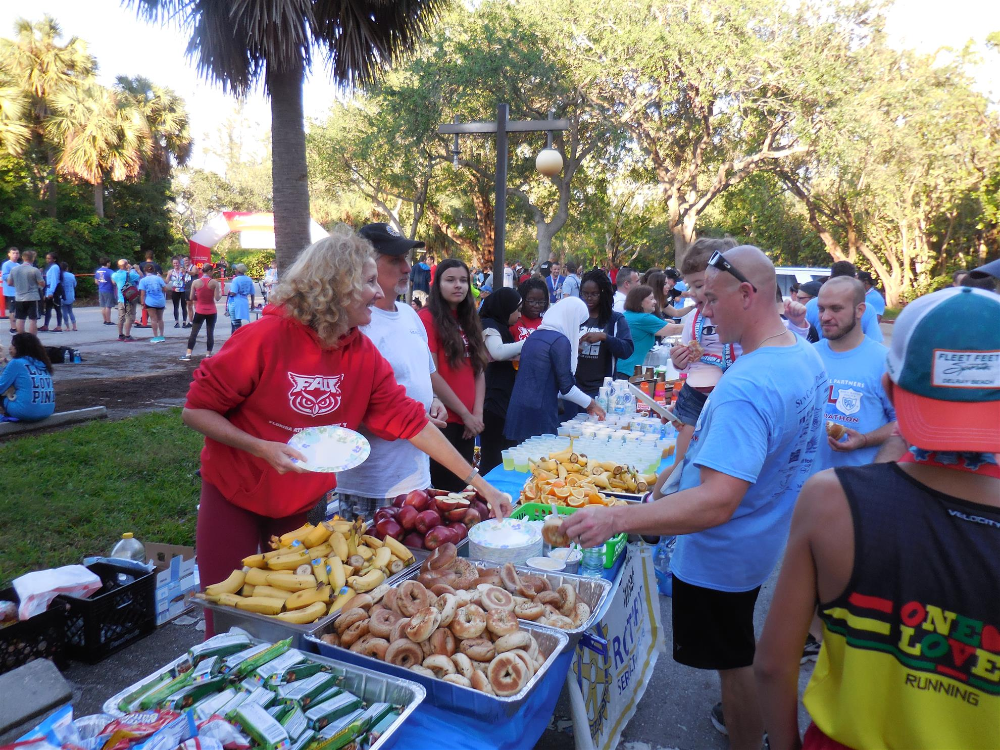 Rotary Boca Raton Sunset Members And FAU HS Interact Volunteers Were In The Park For Setup Preparation At 530 Am Ocean Blvd A1A Closed About 6