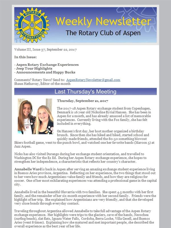 Bulletins for 2017 | Rotary Club of Aspen
