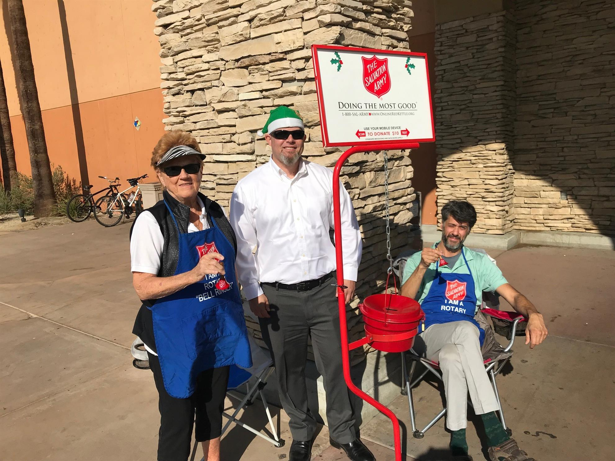No meeting last week so Palms To Pines Rotarians and Sojourners kicked off  the holiday season by spending the day Bell Ringing for the Salvation Army. da111b4b57