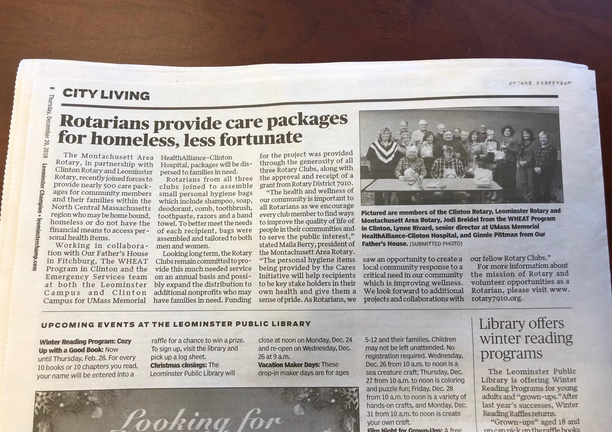 Care Package Grant Article | Montachusett Area Rotary Club