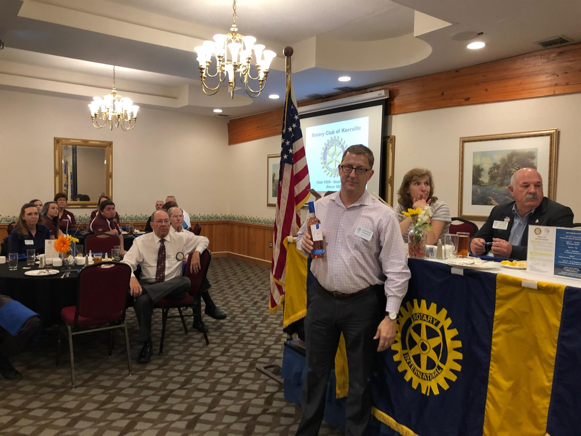 0fdfe4b4d38f58 Howard Freeman was wearing his Rotary pin when his name was called so he  won a bottle of wine.